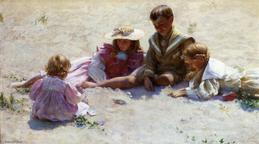 Children by the Seashore, Oil On Canvas by Charles Courtney Curran (1861-1942, United States)