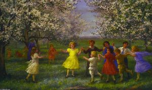 Jennie Augusta Brownscombe - Children Playing in the Orchard