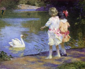 Edward Henry Potthast - Children with a Swan