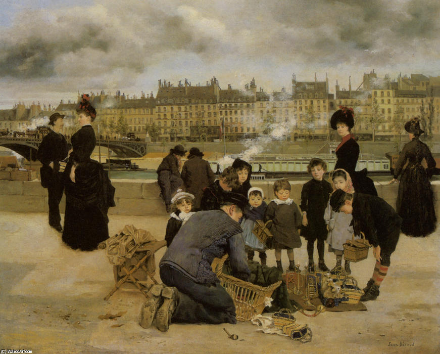 Children With a Toy Seller on the Quai du Louvre by Jean Georges Béraud (1849-1936, France) | Art Reproductions Jean Georges Béraud | WahooArt.com