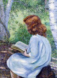Lilla Cabot Perry - Child with Red Hair Reading