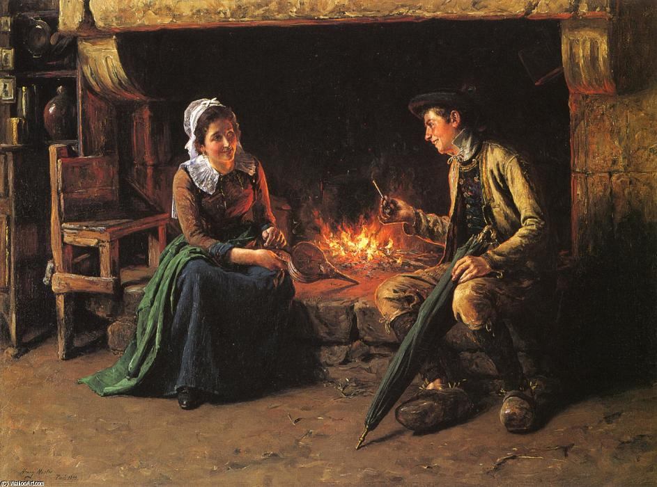The Chimney Corner, Oil On Canvas by Henry Mosler (1841-1920, Poland)