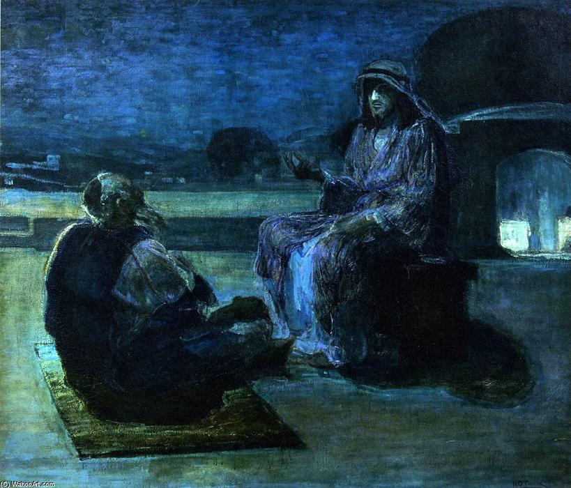 Christ and Nicodemus on a Rooftop (also known as Nicodemus Visiting Jefus), 1927 by Henry Ossawa Tanner (1859-1937, United States) | Famous Paintings Reproductions | WahooArt.com