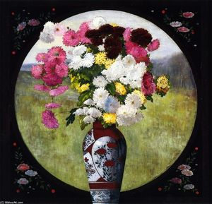John Haberle - Chrysanthemums in a Chinese Vase