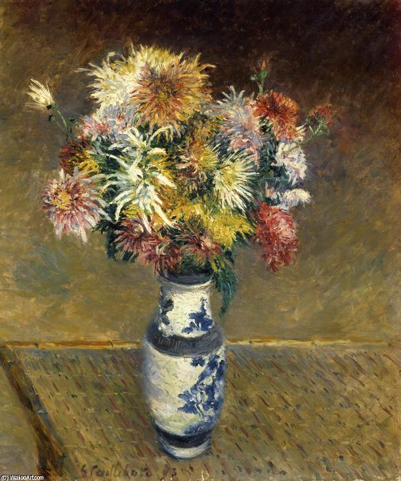 Chrysanthemums in a Vase, Oil On Canvas by Gustave Caillebotte (1848-1894, France)
