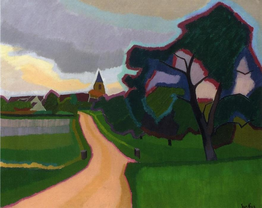 Church at orgeruse oil on canvas by auguste herbin 1882 for Auguste herbin