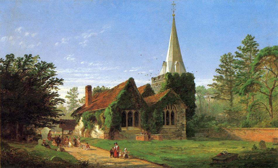 The Church at Stoke Poges, 1864 by Jasper Francis Cropsey (1823-1900, United States) | WahooArt.com