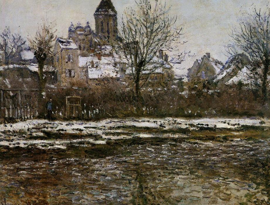 The Church at Vetheuil, Snow, 1878 by Claude Monet (1840-1926, France) | Museum Quality Copies Claude Monet | WahooArt.com