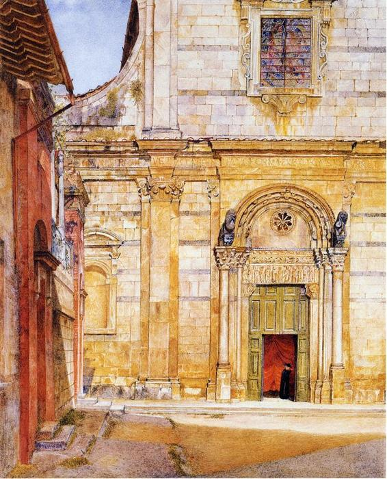 The Church of San Giovanni, Lucca, Watercolour by Henry Roderick Newman (1833-1918, United States)