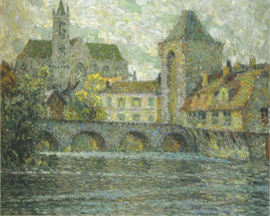 Church on the river, Oil On Canvas by Henri Eugène Augustin Le Sidaner (1862-1939, Mauritius)