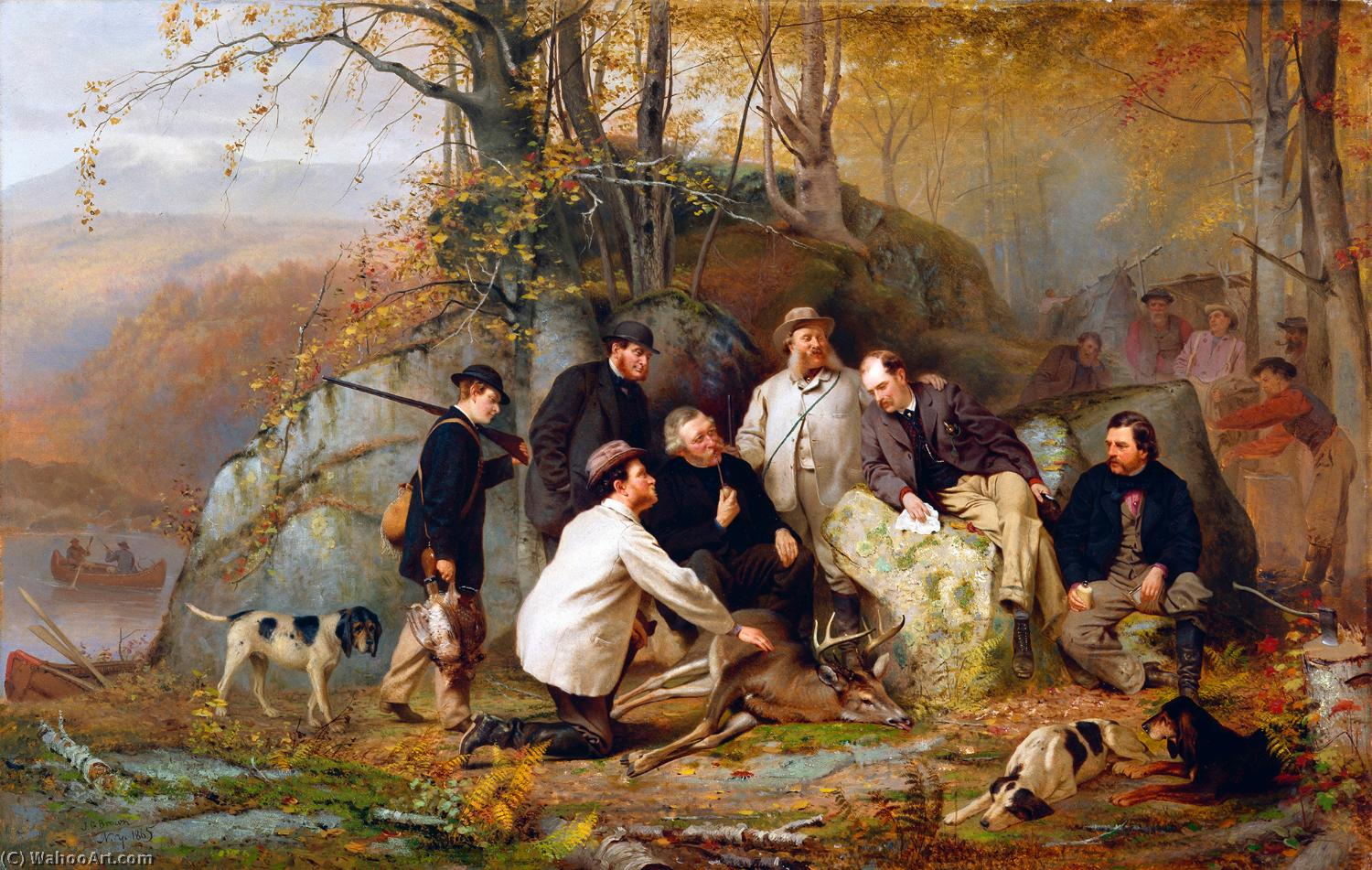 Claiming the Shot - A Group of Portraits after the Hunt in the Adirondacks, 1865 by John George Brown (1831-1913, United Kingdom) | Reproductions John George Brown | WahooArt.com