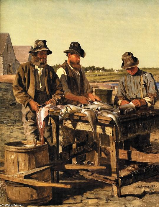Order Hand Painted Oil Painting Cleaning the Catch, 1877 by John George Brown (1831-1913, United Kingdom) | WahooArt.com | Order Hand Made Painting Cleaning the Catch, 1877 by John George Brown (1831-1913, United Kingdom) | WahooArt.com