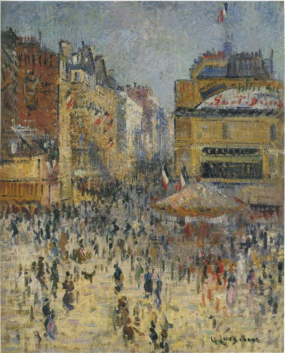 Clignacourt Street in Paris, 1920 by Gustave Loiseau (1865-1935, France) | Famous Paintings Reproductions | WahooArt.com