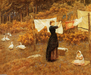 Helen Allingham (Helen Mary Elizabeth Paterson) - The Clothes Line