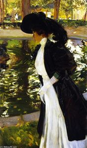 Joaquin Sorolla Y Bastida - Clotilde Strolling in the Gardens of La Granja