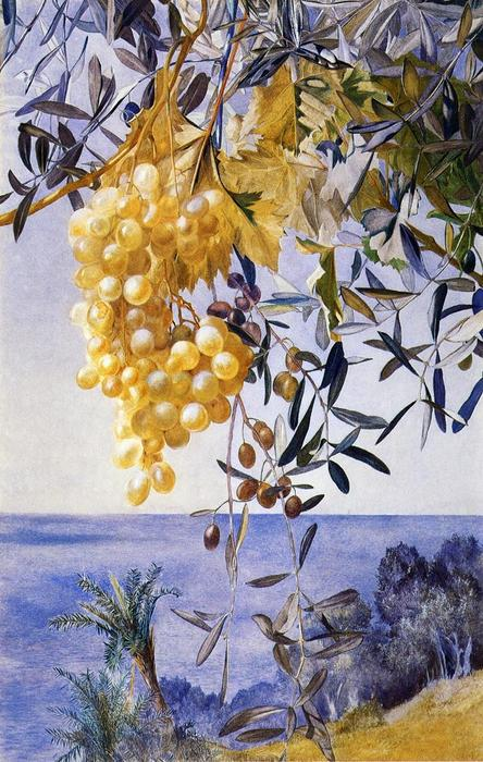 A Cluster of Grapes, Watercolour by Henry Roderick Newman (1833-1918, United States)