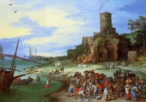 Jan Brueghel The Elder - Coastal Landscape with the Tomb of Scipion