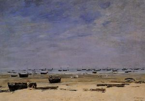 Eugène Louis Boudin - The Coastline at Berck at Low Tide