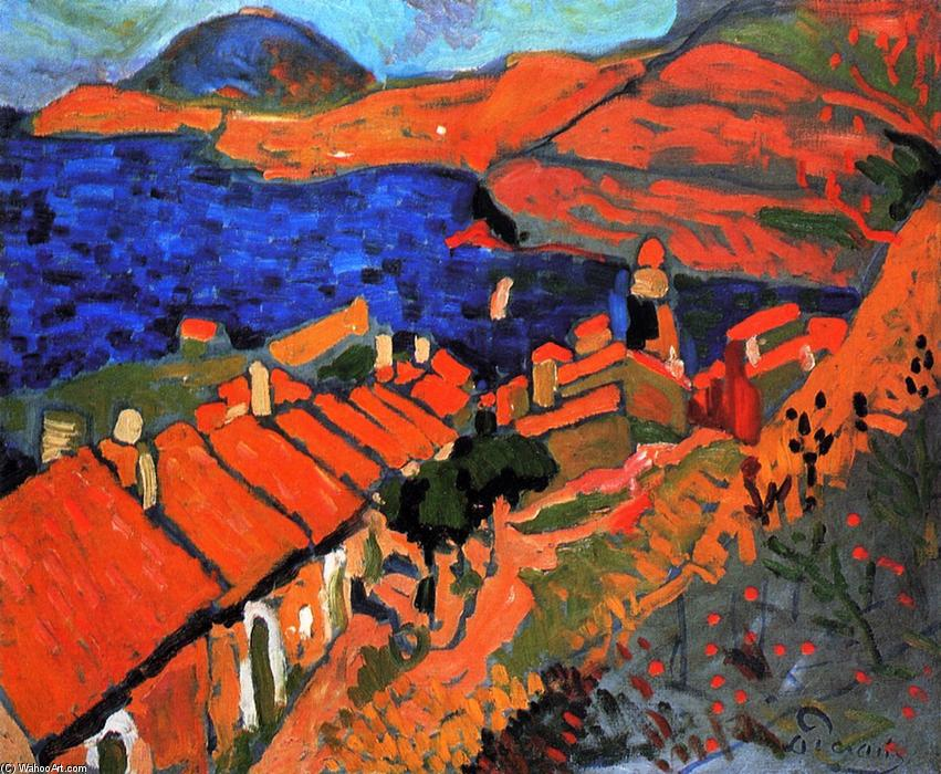 Collioure, the Village and the Ocean, Oil On Canvas by André Derain (1880-1954, France)