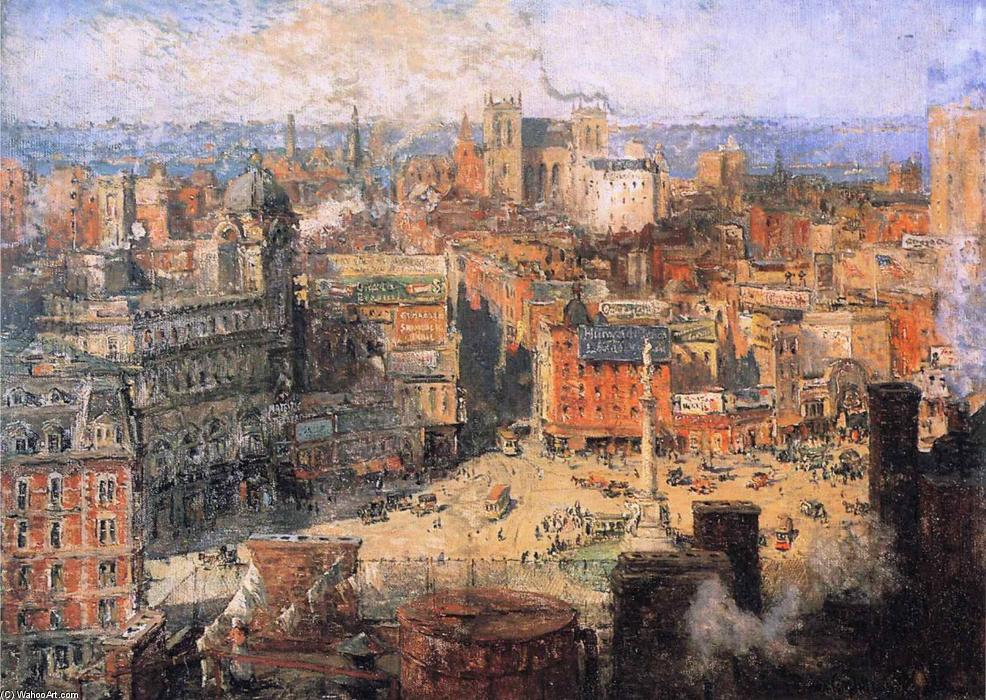 Columbus Circle, 1909 by Colin Campbell Cooper (1856-1937, United States) | Museum Quality Reproductions | WahooArt.com