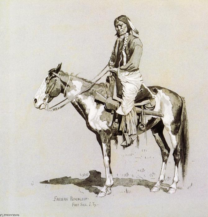 Commanche on Horseback, Painting by Frederic Remington (1861-1909, United States)