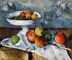 Paul Cezanne - Compotier, Glass and Apples (also known as Still Life with Compotier)