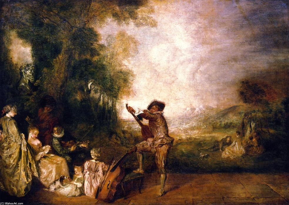 The Concert, 1716 by Jean Antoine Watteau (1684-1721, France) | Paintings Reproductions Jean Antoine Watteau | WahooArt.com