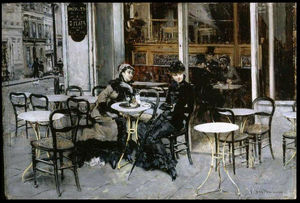 Giovanni Boldini - Conversation at the Cafe