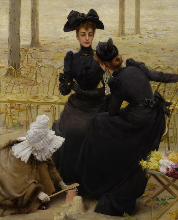 Conversations in the Garden of Luxembourg by Vittorio Matteo Corcos (1859-1933, Italy) | Reproductions Vittorio Matteo Corcos | WahooArt.com