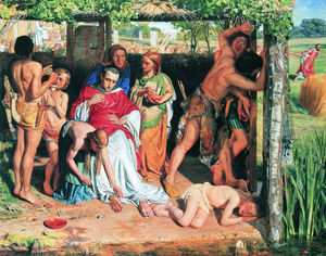 William Holman Hunt - A Converted British Family Sheltering a Christian Missionary the Persecution of the Druids
