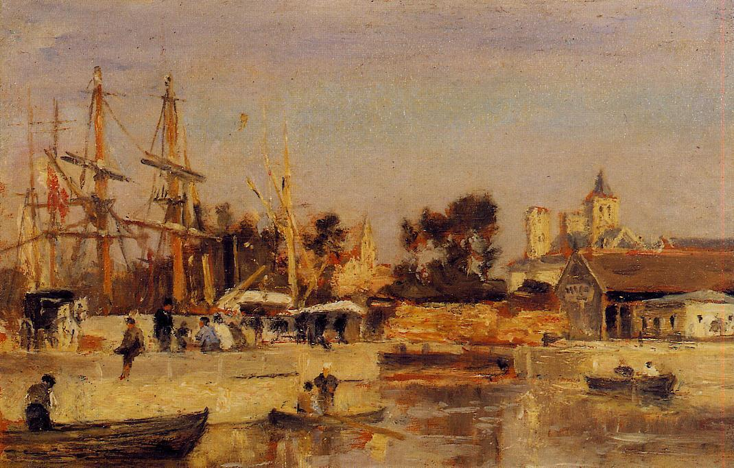 Order Art Reproductions | A Corner of the Port, Caen by Stanislas Lepine (1835-1892, France) | WahooArt.com