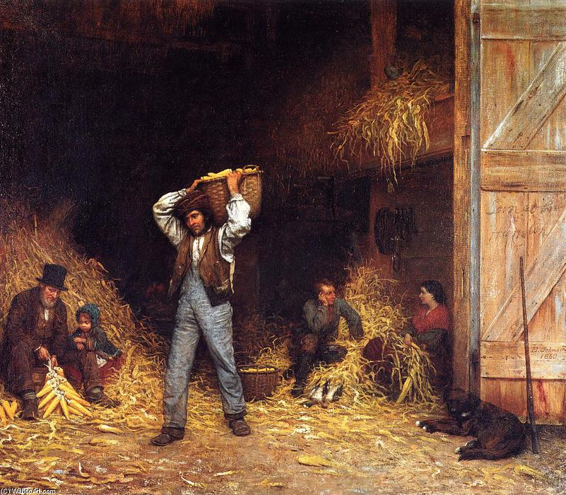 Corn Husking, 1860 by Jonathan Eastman Johnson (1824-1906, United Kingdom) | WahooArt.com