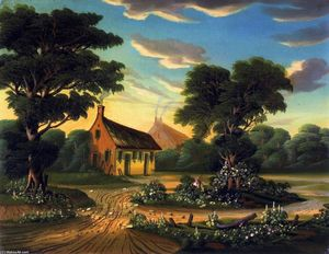 Thomas Chambers - Cottages in a Landscape (also known as The Birthplace of Burns)