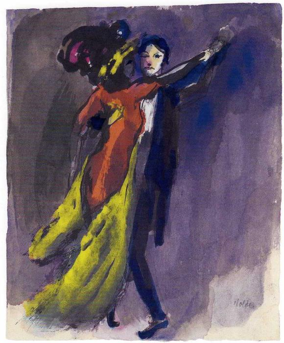 Couple Dancing by Emile Nolde (1867-1956, Germany) | Museum Quality Reproductions | WahooArt.com