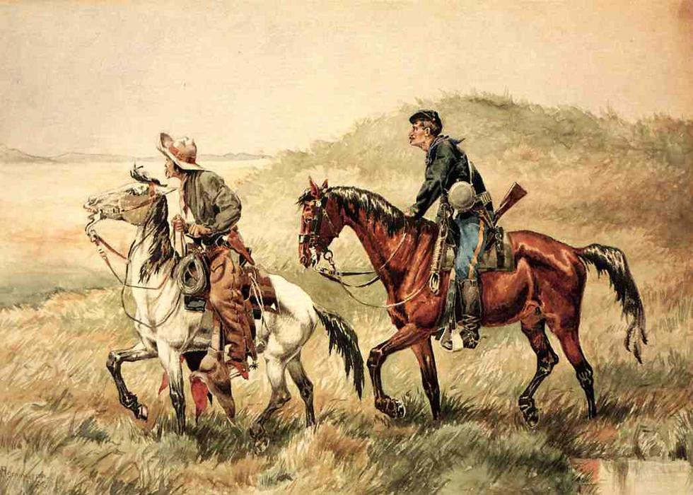The Couriers, Watercolour by Frederic Remington (1861-1909, United States)