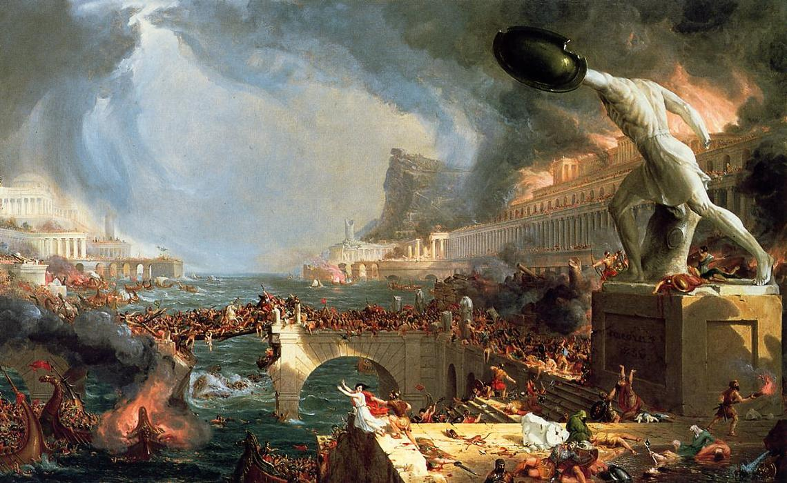 The Course of Empire: Destruction, Oil On Canvas by Thomas Cole  (order Fine Art Framed Giclee Thomas Cole)