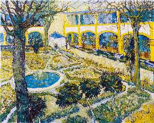 Vincent Van Gogh - The Courtyard of the Hospital at Arles - (Famous paintings reproduction)
