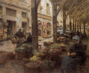 Léon Augustin L-hermitte - The Covered Vegetable Market, St Malo (no.2)