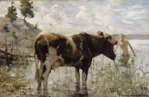 Akseli Gallen Kallela - Cow and Boy