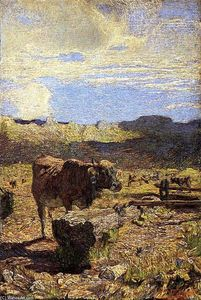 Giovanni Segantini - Cow at a Water Trough