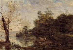 Jean Baptiste Camille Corot - Cowherd by the Water
