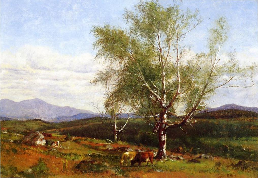 Cows Grazing in a Valley, Oil On Canvas by James Mcdougal Hart (1828-1901, United Kingdom)