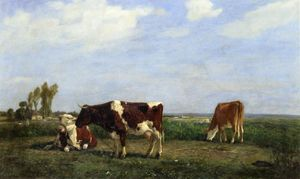Eugène Louis Boudin - The Cows in a Meadow
