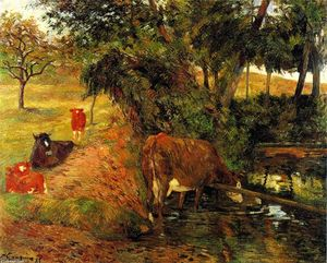 Paul Gauguin - Cows near Dieppe (also known as Landscape with Cows in an Orchard)