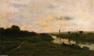 Charles François Daubigny - Cows on the Banks of the Seine, at Conflans