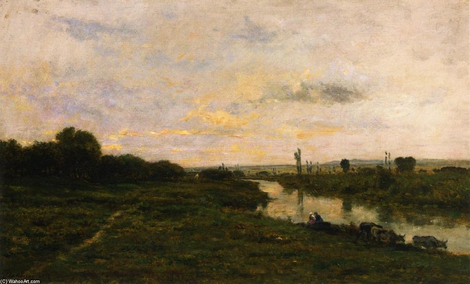 Cows on the Banks of the Seine, at Conflans, Oil On Panel by Charles François Daubigny (1817-1878, France)
