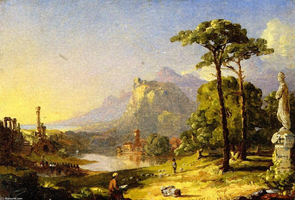 Cranch on a Pedestal in Italy, Oil On Canvas by Jasper Francis Cropsey (1823-1900, United States)