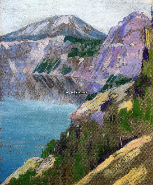 Crater Lake, 1919 by Arthur Wesley Dow (1857-1922, United Kingdom) | Reproductions Arthur Wesley Dow | WahooArt.com