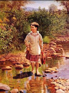 John George Brown - Crossing the Brook