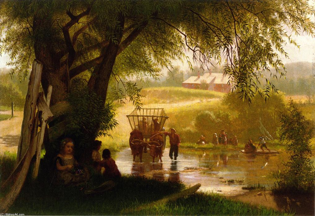 Crossing the Stream, 1864 by John George Brown (1831-1913, United Kingdom) | Famous Paintings Reproductions | WahooArt.com
